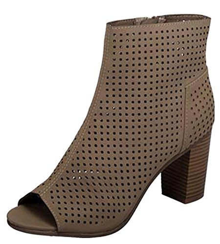 Breckelle's Women's Perforated Stacked Chunky Heel Peep Toe Bootie