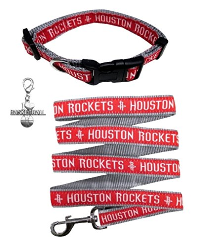 Houston Rockets Nylon Collar and Matching Leash for Pets (NBA Official by Pets First - Size Large) with Chrome Basketball Charm by Pets First