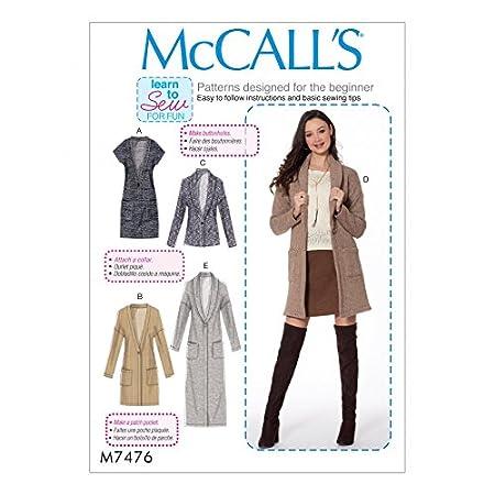 McCalls Ladies Easy Learn to Sew Sewing Pattern 7476 Drop Shoulder  Waistcoat & Cardigans