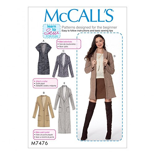 McCalls Ladies Easy Learn to Sew Sewing Pattern 7476 Drop Shoulder Waistcoat & Cardigans by McCall's