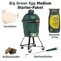 Big Green Egg Medium Starter Set Keramikgrill XXL grün Keramik Ceramic Smoker Garten Grill-Set ✔ Lenkrollen mit Bremse ✔ Deckel ✔ oval ✔ rollbar ✔ stehend grillen ✔ Grillen mit Holzkohle ✔ mit Rädern