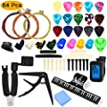 64 PCS Guitar Accessories Kit, ZALALOVA All-in 1 Guitar Tool Changing Kit Including Guitar Picks, Capo, Acoustic Guitar Strings, String Winder, Bridge Pins, Pin Puller, Guitar Bones & Pick Holder