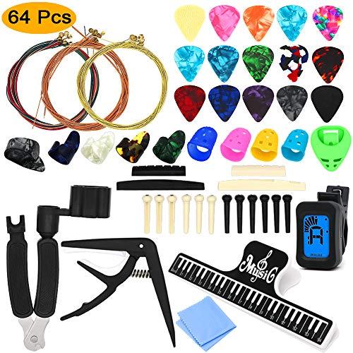 64 PCS Guitar Accessories Kit, ZALALOVA All-in 1 Guitar Tool Changing Kit Including Guitar Picks, Capo, Acoustic Guitar Strings, String Winder, Bridge Pins, Pin Puller, Guitar Bones & Pick Holder