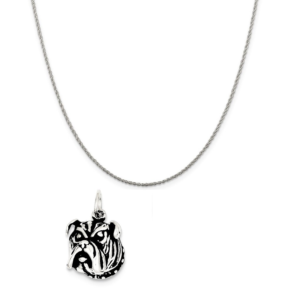 Mireval Sterling Silver Antiqued Bull Dog Charm on a Sterling Silver Chain Necklace 16-20