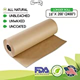 "Kraft Brown Butcher Paper Roll 18"" x 200' (2400"") All Natural, USA Made Wrapping for Arts & Craft, Packaging, BBQ, Smoke Meat, Brisket - FDA Approved Food Grade, Unbleached, Unwaxed, Uncoated Sheet"