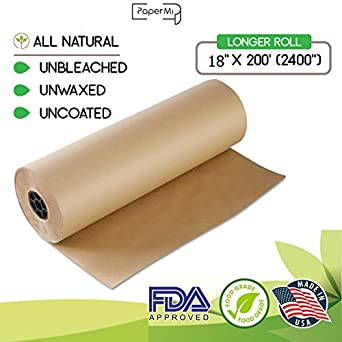 kraft brown butcher paper roll 18 x 200 2400 all natural usa made wrapping for. Black Bedroom Furniture Sets. Home Design Ideas