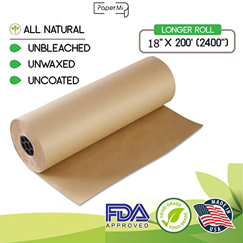 "Kraft Brown Butcher Paper Roll 18"" x 200' (2400"") All Natural, USA Made Wrapping for Arts & Craft, Packaging, BBQ, Smoke Meat, Brisket - FDA Approved Food Grade, Unbleached, Unwaxed, Uncoated Sheet (Paper Drawing Kraft)"