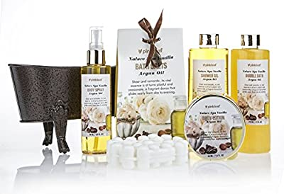 Pinkleaf Nature Spa Vanilla, Argan Oil, Bath Gift Set, in Antique Brass Looking Tub