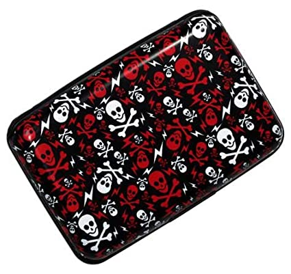 0c82b75e1093 Plixio Red & White Skull Aluminum Wallet & Credit Card Case with RFID  Protection