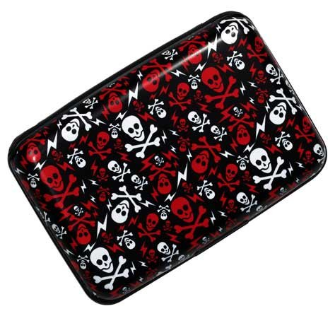 (Plixio Red & White Skull Aluminum Wallet & Credit Card Case with RFID Protection)