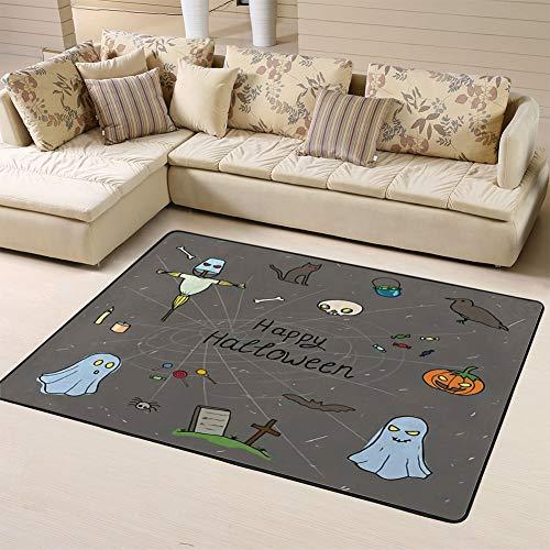 Sports Area Rug Floor Rug Halloween Set Design with Skull Pumpkin Candy Ghost Raven Grave Scarecrow and Catnon-Slip Doormat for Living Dining Dorm Room Bedroom 60