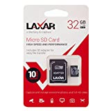 LAXTEK Ultra 32GB Micro SD TF Memory Card Class 10 with Micro SD to SD Adapter High Performance SD Card - Full HD & 4K Photos & Video Storage (32GB)