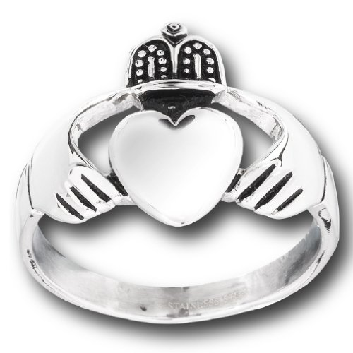 Men's 316L Stainless Steel Large Claddagh Celtic Ring, Size 11 (Large Claddagh Ring)