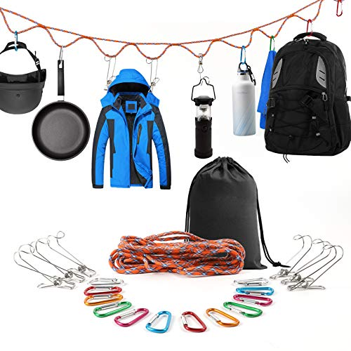 SAMIALOR Campsite Storage Strap with 12 PCS Buckles & 6 PCS Clothes Pins for Hanging Outdoor Camping Equipment | Garden Supplies Outdoor Camping Hammock&Tent Accessories