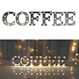 Cheap Decorative Illuminated Coffee Marquee Word Sign (Silver Color 4.21″ Tall) – Lighted Letter Words and Signs for Home Kitchen Office Wedding Cafe Decor – Coffee
