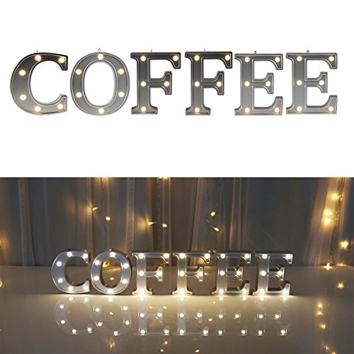 Decorative Illuminated Coffee Marquee Word Sign  - Lighted L