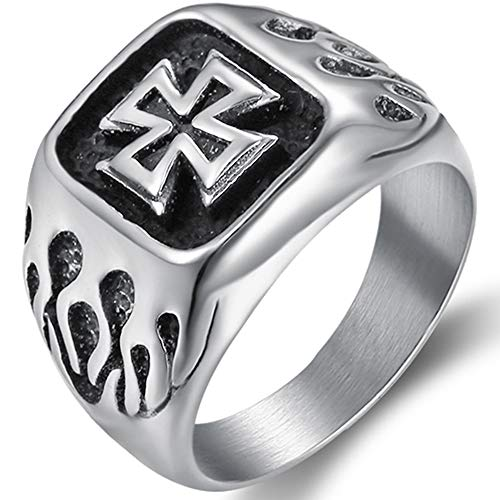 Kingray Jewelry Men Stainless Steel Cross Cocktail Party Biker Ring (12) ()