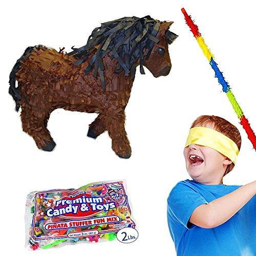 Pinatas Horse Pinata Kit Including Pinata, Buster Stick, Bandana and Candy Filler, 2 lb., Brown ()