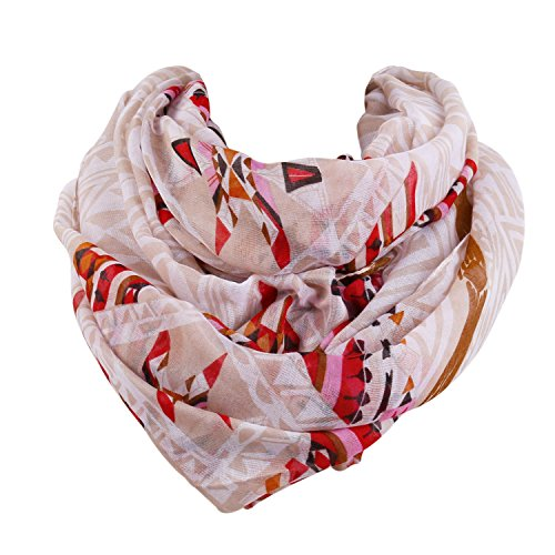 SOJOS Womens Fashion Pattern Premium Soft Lightweight Loop Infinity Scarf SC311 With Apricot (Calico Scarf)