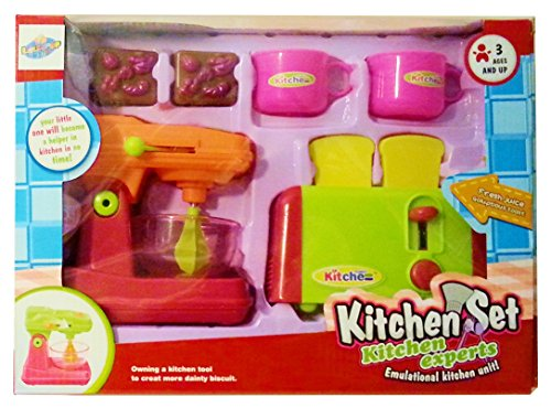 Learning Fun - Kids Play Kitchen 2 Appliance Set with Mixer & Toaster and Accessories for Pretend Game Playtime Boys & Girls (Playtime Kitchen)