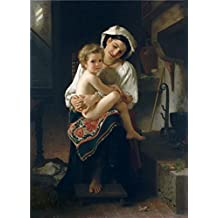 Cotton Canvas ,the Reproductions Art Decorative Canvas Prints of oil painting 'Adolphe William Bouguereau-Young Mother Gazing at Her Child,1871', 12x17 inch / 30x42 cm is best for Living Room gallery art and Home decor and Gifts