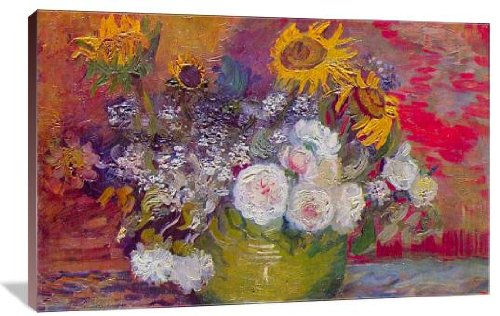 Still-life with roses and sunflowers by Van Gogh - sunflower canvas wall decorations