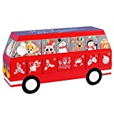 14.5 Inch Wooden Christmas School Bus Calendar with 24 Drawers