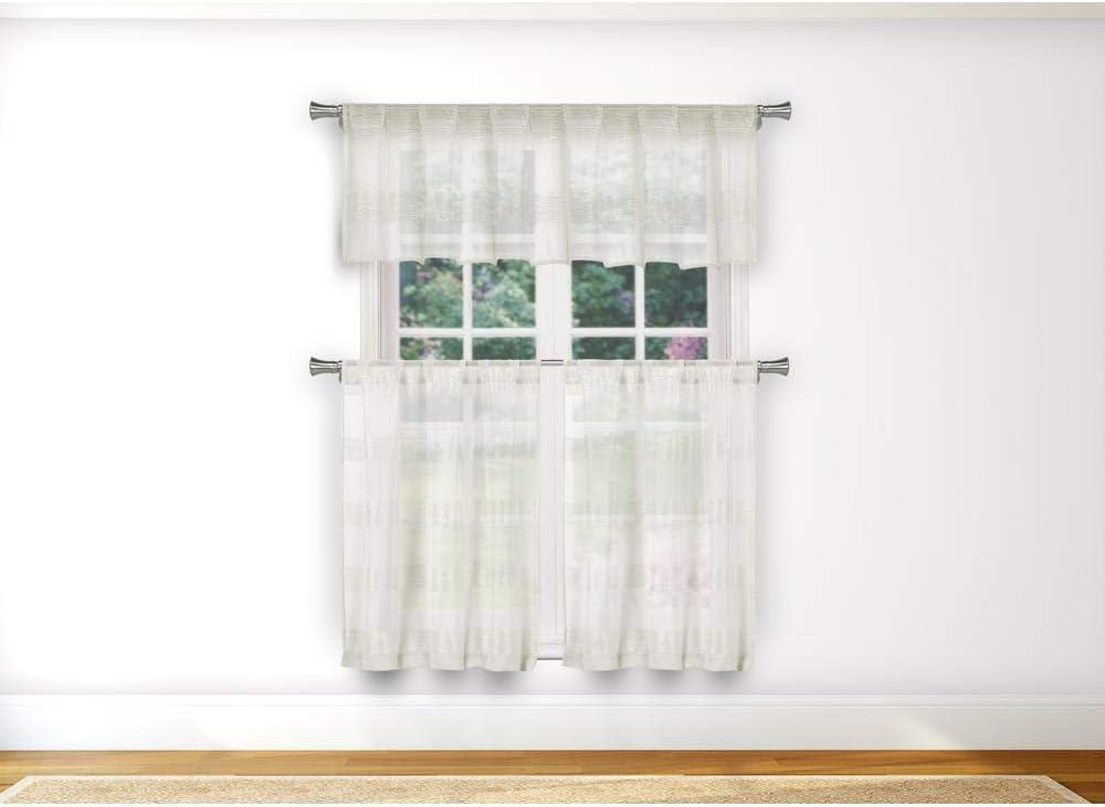 Home Maison - Loretta Semi Sheer Faux Linen Striped Kitchen Tier & Valance Set | Small Window Curtain for Cafe, Bath, Laundry, Bedroom - (Beige)