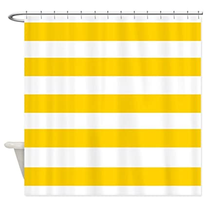 OneHoney Yellow And White Stripes Shower CurtainWaterproof Mildewproof Polyester Fabric Bath Curtain 54x78inch
