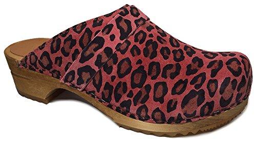 Sanita Veloursleder Leopard Sandy Bedruckt Clogs (Kunst :453699) Rot - rot