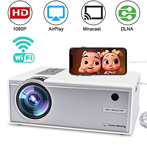 WiFi Projector 2800Lux, WEILIANTE Full HD Portable Video Projector 2019 Upgraded, Wireless Mini Projector, Compatible with Smartphones, Fire TV Stick, PS4, HDMI, VGA, AV, USB