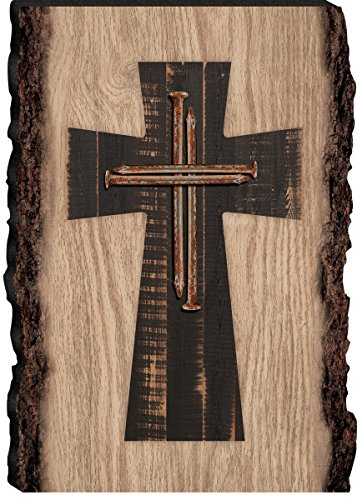 Nails on the Cross Distressed 4 x 6 Wood Bark Edge Design Sign