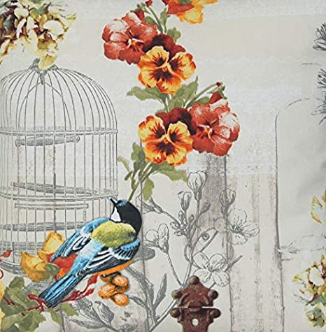 Y pájaros de diseño de jaulas con Material algodón diseño Vintage ...