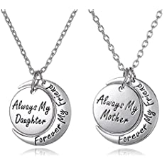 Always My Daughter Forever my Friend/Always my Mother Forever my Friend Inscribed Silver Tone Matching Necklace Gift Set