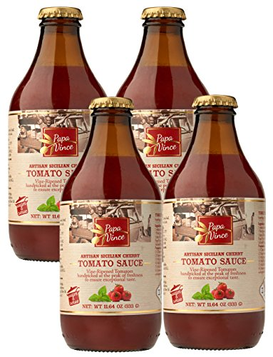 Papa Vince Pasta Tomato Sauce - Glass Canned, No Sugar Added, Low Acid | from Sicily, Italy, made with vine-ripened tomatoes handpicked at the peak of freshness for exceptional taste 11.6 oz (4-Pack)