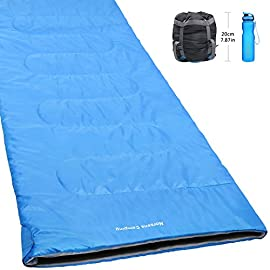 Norsens Warm Weather Sleeping Bags for Adults, 20 Degree Compact Ultralight/Lightweight Sleeping Bag for Camping, Backpacking, Hiking & Outdoor, XL, Blue/Orange 98 Lightest & Minimum Package: Ultralight - 2 lbs/0.9 kg and super small - 7.87x5.5in/20x14cm. Just throw it in your duffle when travelling, but without adding any extra pounds to your backpack Spacious: Fits most adults up to 6'5. Moreover, 2 sleeping bags(Any color) can be zipped together for couples or a parent with kids. Water-resistant/Wind prevention: Thanks to Norsens professional polyester cover processing technology, prevent you from any dampness, and keep warm all the night even in extreme conditions. Comfort Temperature is 59°F/15°C (Range: 50°F/10°C - 77°F/25°C )
