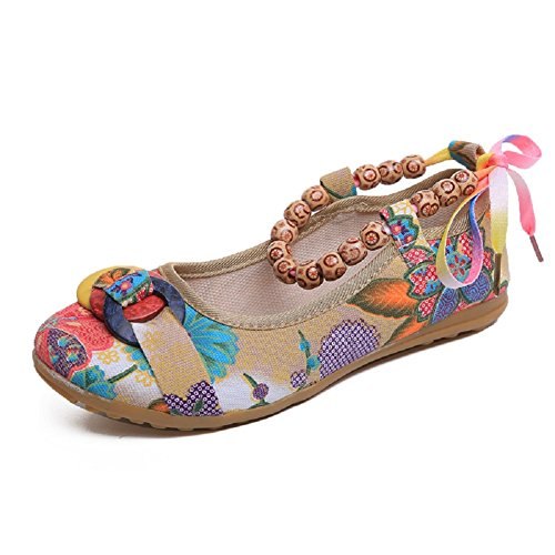 Lazutom Women Lady Vintage Chinese Style Round Toe Mary Jane Embroidered Flower Flats Shoes Multi