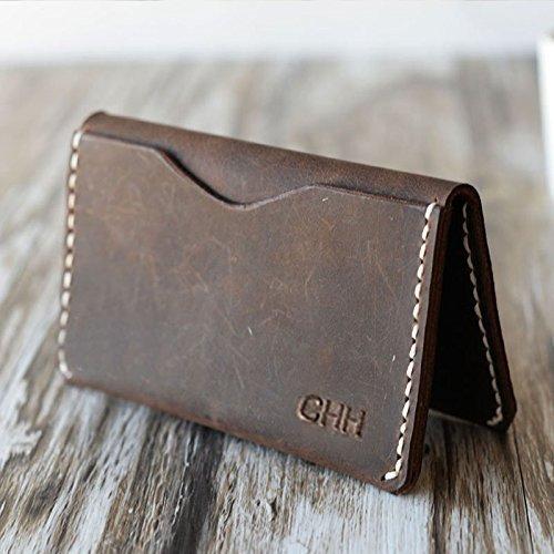 Personalized Handmade Slim Leather Wallet Credit Card Holder Card Wallet Slim Wallet Business Card Case Mens Wallets Rustic Brown