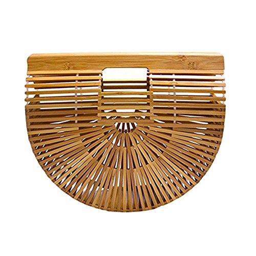 donne grande Borsa in Borsa borsetta bambù a da Black mano per donna paglia bambù intrecciata a Borsa spiaggia cestino mano Large Bambù di di stoffa le a in mano rIqUARr