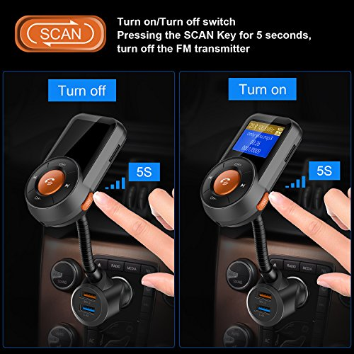 Hicarer (New Version) FM Transmitter, Radio Adapter Receiver Hands-free Wireless Car Adapter, Scan FM Transmitter, 1.4 Inch LCD Display, QC3.0/2.4A Dual USB Ports, Supports for Bluetooth/TF Card by Hicarer (Image #1)