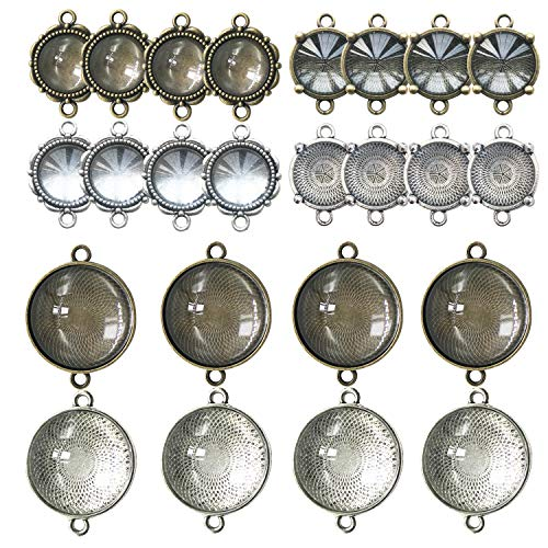 Bezel Double - 48 PCS Pendant Tray Kit, Seasonsky Double Hole Bracelet Blanks Pendant Trays with 24 PCS Glass Cabochon Round Connector Charms Bracelet Cameo Bezel Settings Photo Jewelry for Crafting DIY