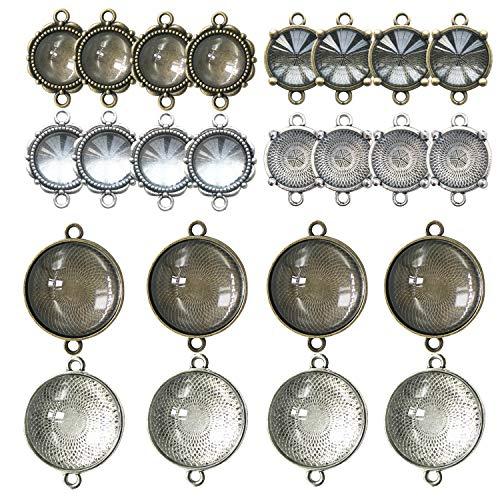 (48 PCS Pendant Tray Kit, Seasonsky Double Hole Bracelet Blanks Pendant Trays with 24 PCS Glass Cabochon Round Connector Charms Bracelet Cameo Bezel Settings Photo Jewelry for Crafting DIY)