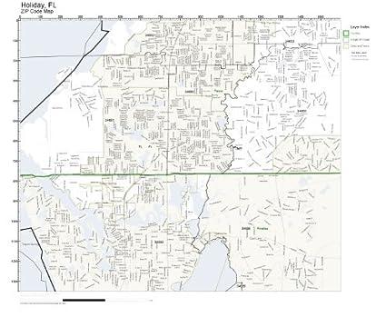 Holiday Florida Map.Amazon Com Zip Code Wall Map Of Holiday Fl Zip Code Map Laminated