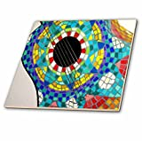 3dRose ct_60680_3 Photo of Colorful Guitar Made with Mexican Tiles-Ceramic Tile, 8-Inch
