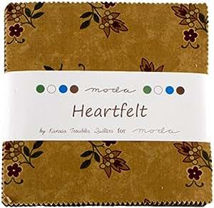 Moda HEARTFELT Precut 5-inch Charm Pack Cotton Fabric Quilting Squares Assortment Kansas Troubles 9470PP