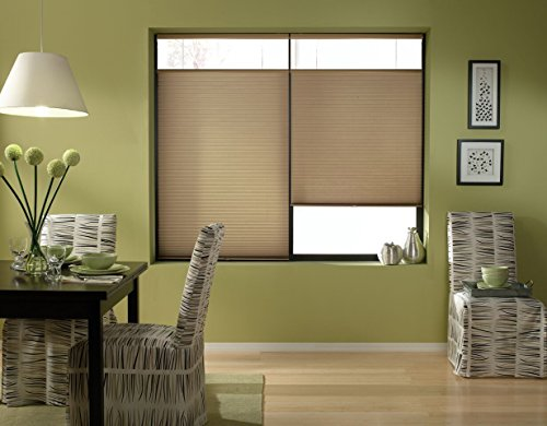 Windowsandgarden Cordless Top Down Bottom Up Cellular Honeycomb Shades, 35W x 36H, Antique Linen, Any Size 19-72 Wide