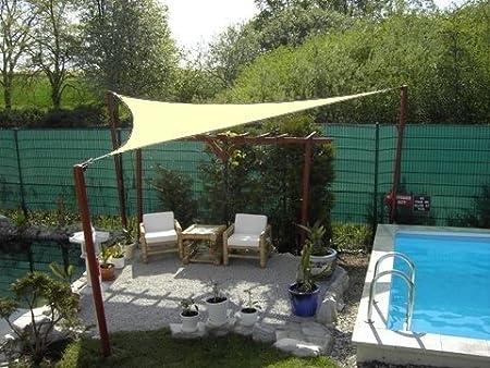 Coolaroo - Parasol (5 x 5 x 5 m, diseño triangular), color marrón arena: Amazon.es: Jardín