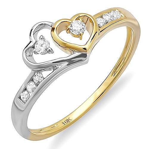 Two Tone Diamond Promise Ring - 2
