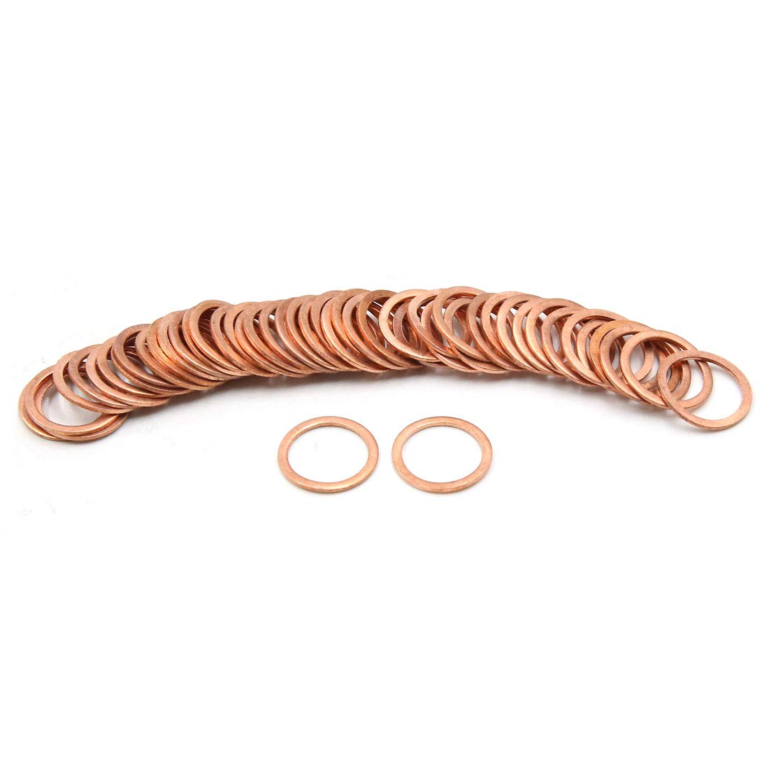 X AUTOHAUX Copper Crush Washers Flat Car Sealing Gaskets Rings 14 x 18mm Dia 50pcs by X AUTOHAUX (Image #1)