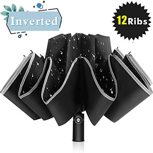 Bodyguard Inverted Windproof Travel Umbrella, 12 Ribs Reverse Auto Open and Close Umbrella with Reflective Stripe, Upside Down Double-Use Umbrella in Rain & Sun with Leather Cover for Women and Men (Reflective Umbrella)